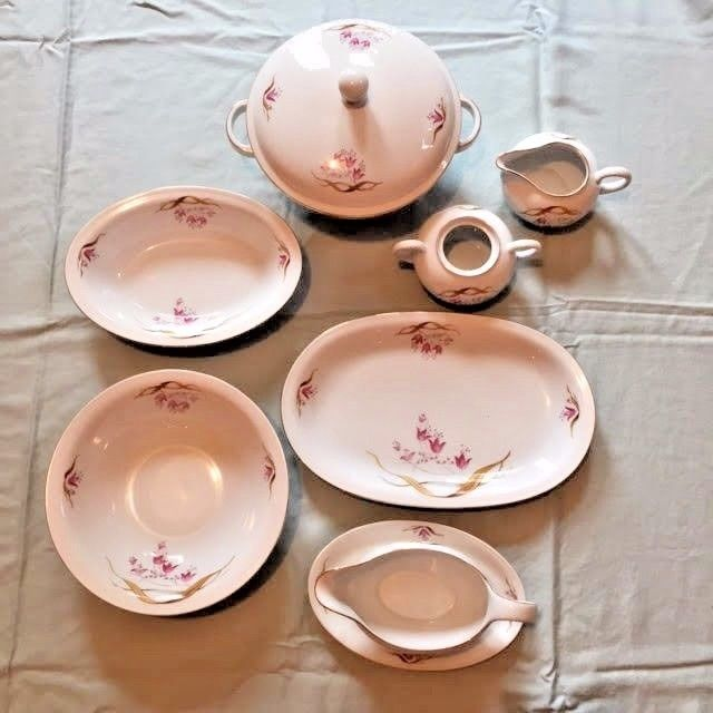 Antique Eschenbach Bavaria-Germany Dinnerware ... & Antique Eschenbach Bavaria-Germany Dinnerware set White with Pink ...