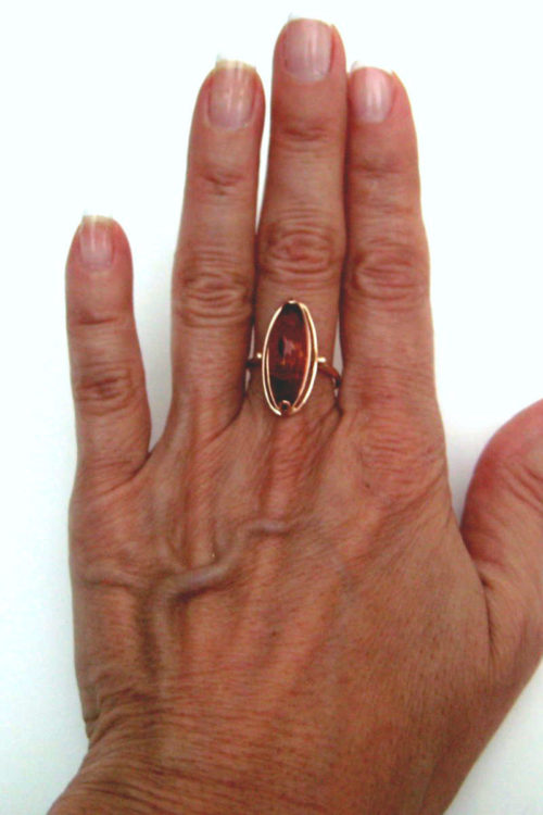 Vintage Amber Ring in Rose Gold with Russian Hallmarks 14K gold