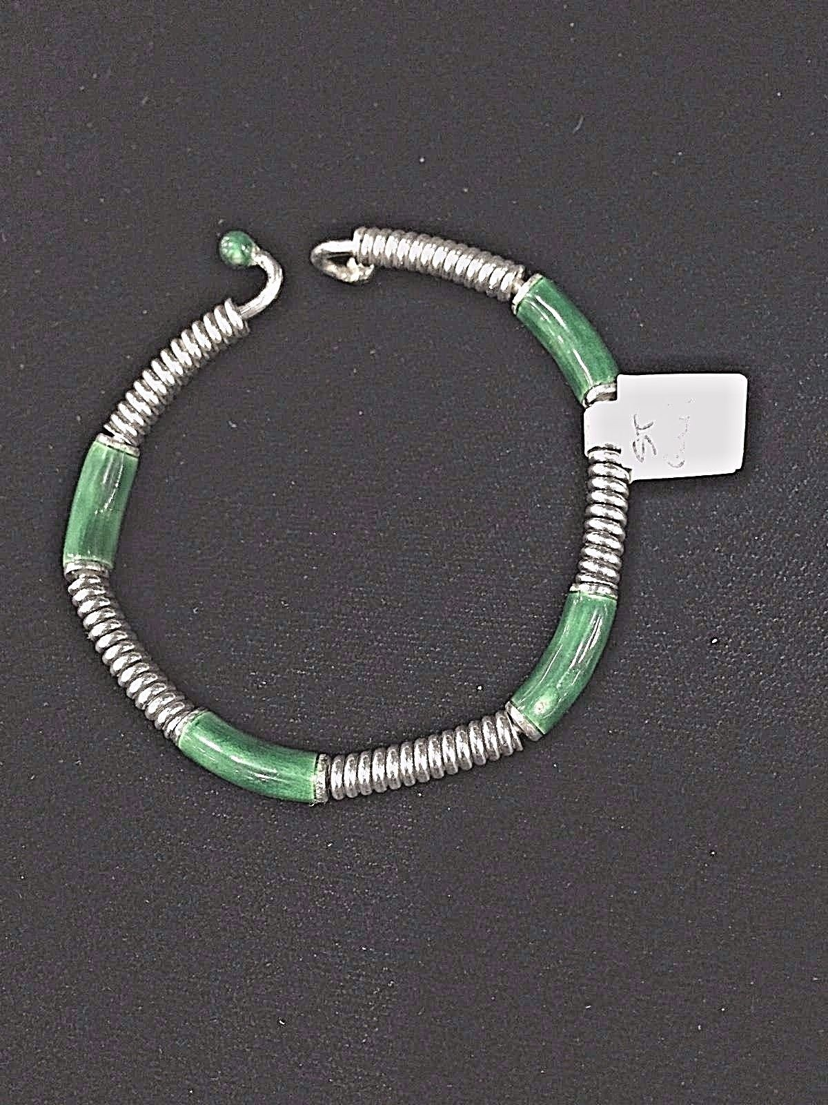 Vintage Gucci Signed Sterling Silver And Green Enamel