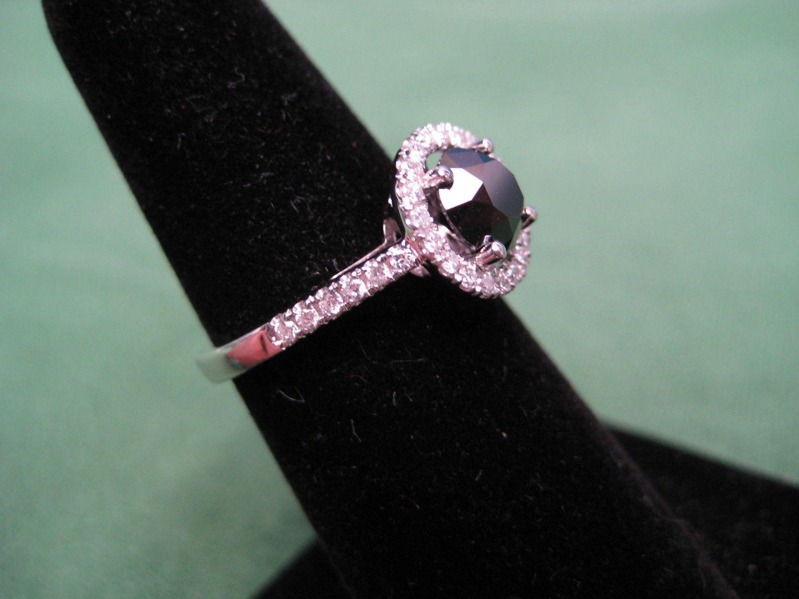 ESTATE 1 10 CARAT BLACK DIAMOND RING IN 14K WHITE GOLD