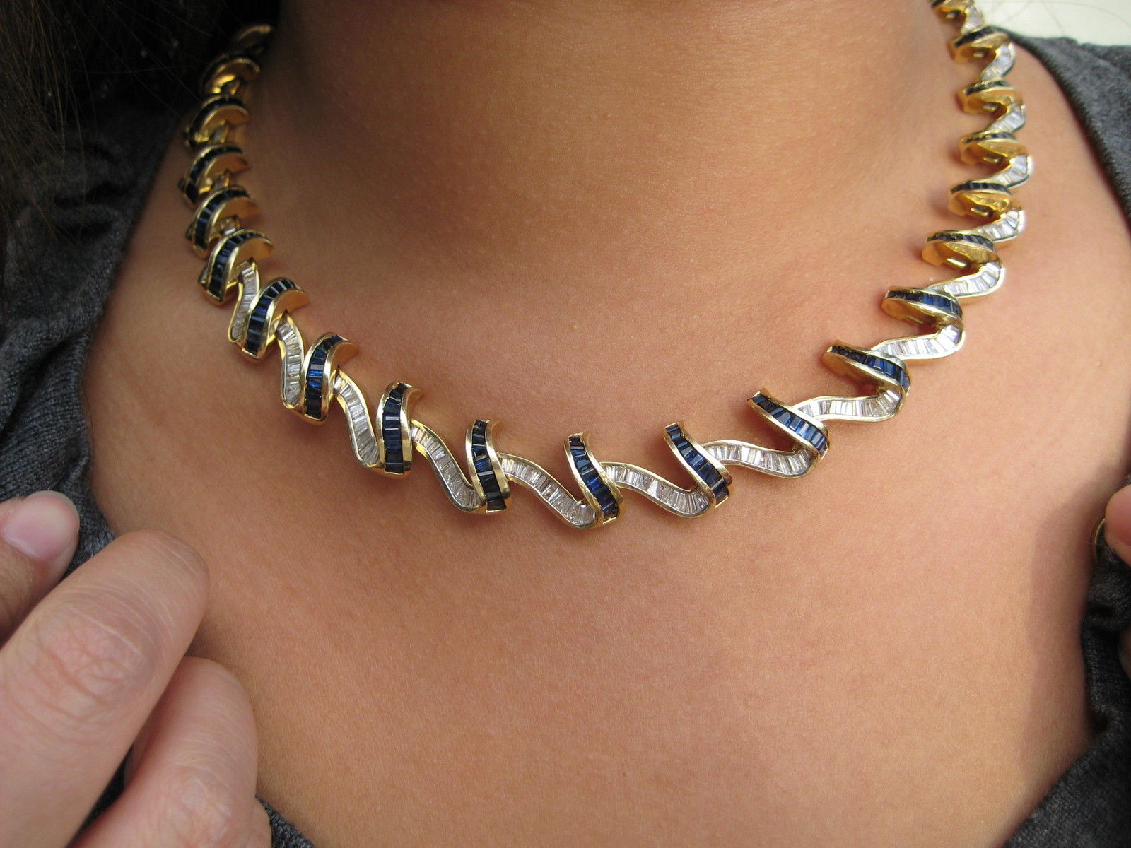Vintage Estate Sapphire & Diamond Necklace 14 cts 14k Yellow Gold
